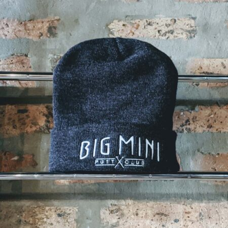 Charcoal beanie hat with white in-line logo