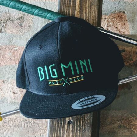 Black snapback hat with color in-line logo