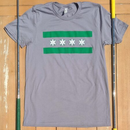 Front view of Grey Chicago flag inspired stars and putters shirt