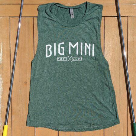 Green sleeveless women's tanktop shirt viewed from the front