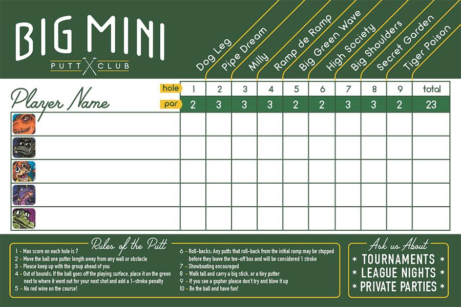 Blank golf scorecard for five players